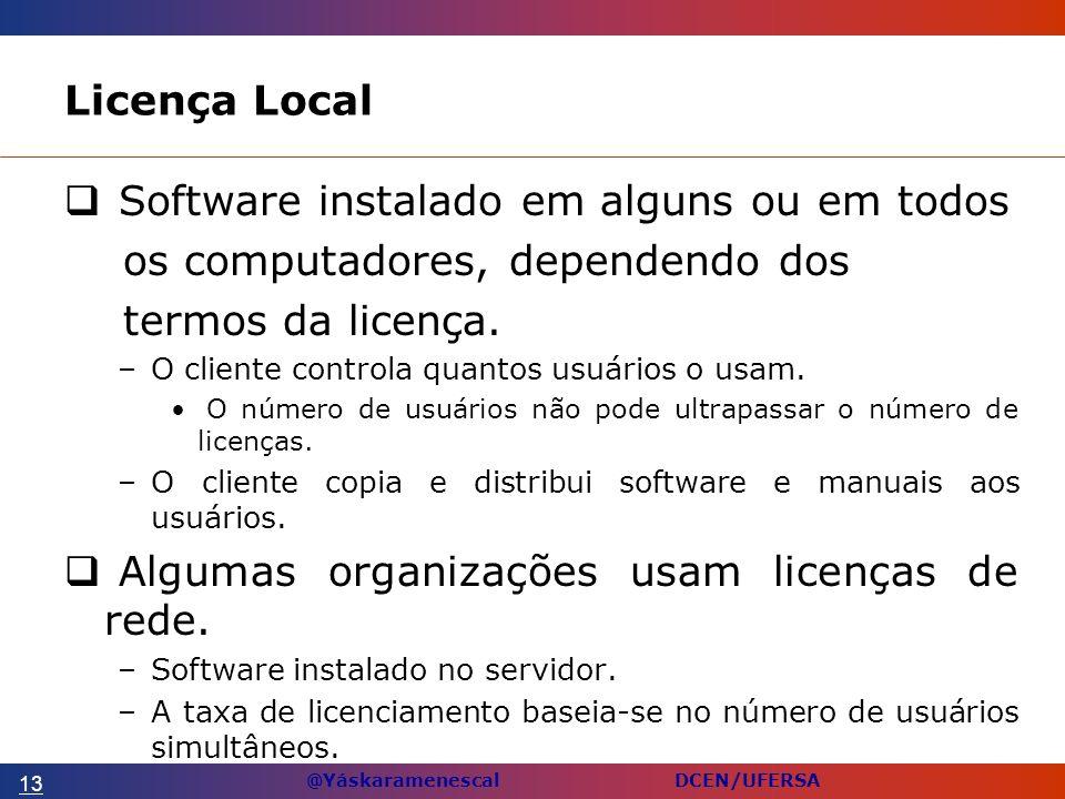 Software instalado em alguns ou em todos