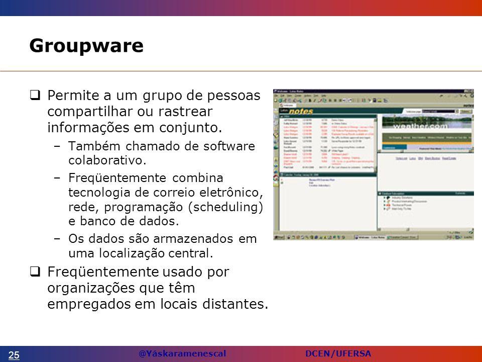Groupware Permite a um grupo de pessoas compartilhar ou rastrear informações em conjunto. Também chamado de software colaborativo.