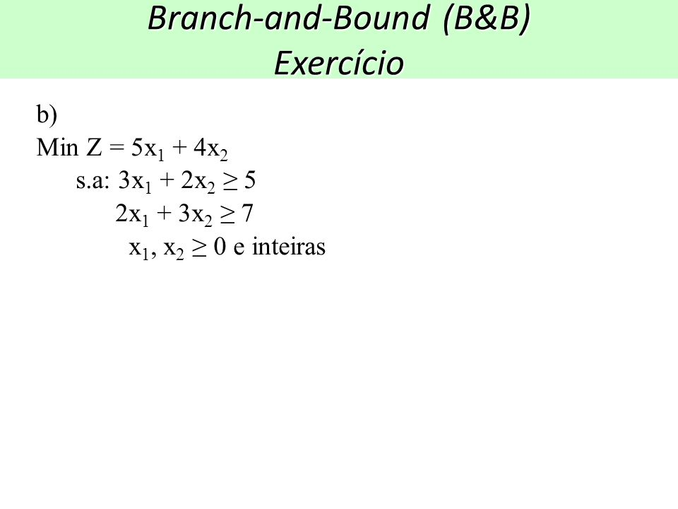 Branch-and-Bound (B&B) Exercício