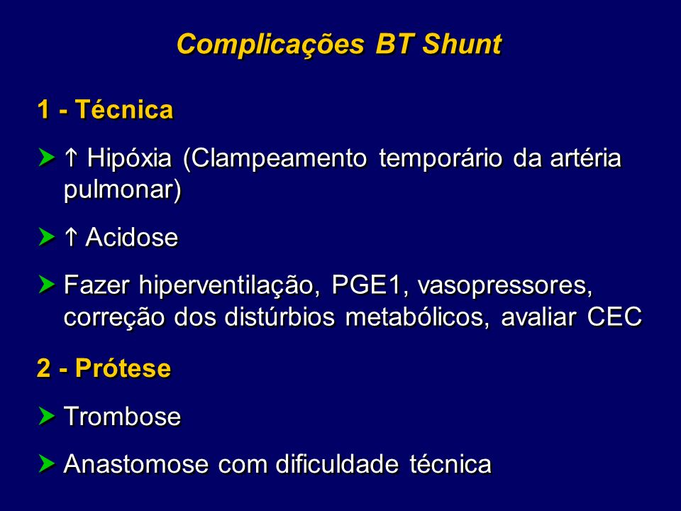 Complicações BT Shunt 1 - Técnica