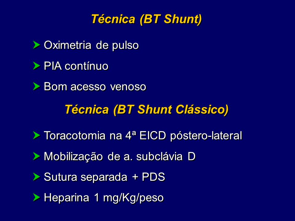 Técnica (BT Shunt Clássico)