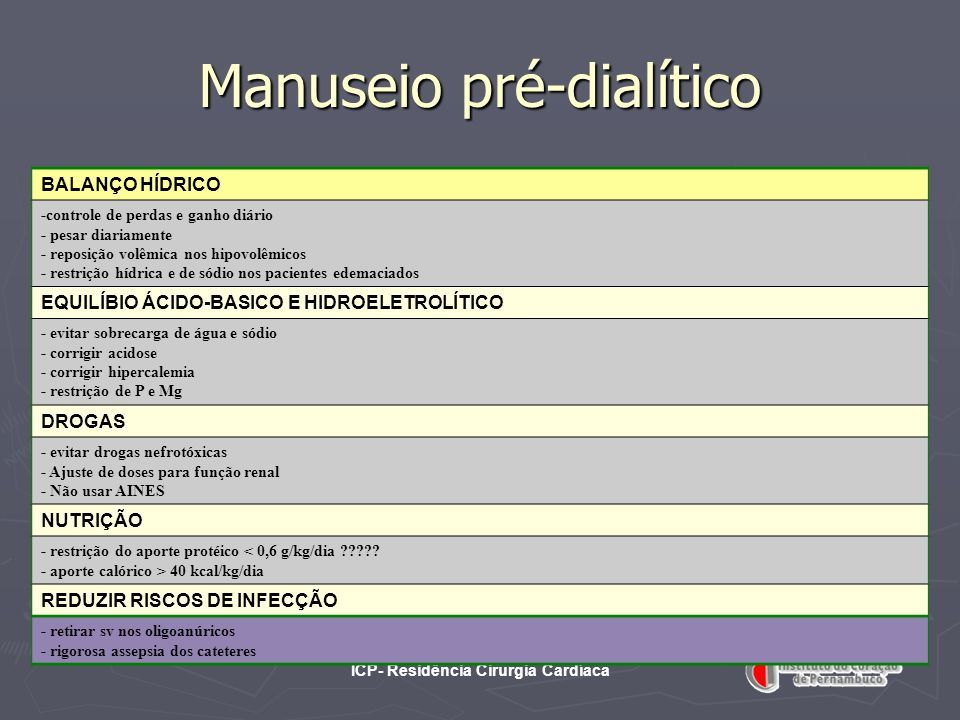 Manuseio pré-dialítico