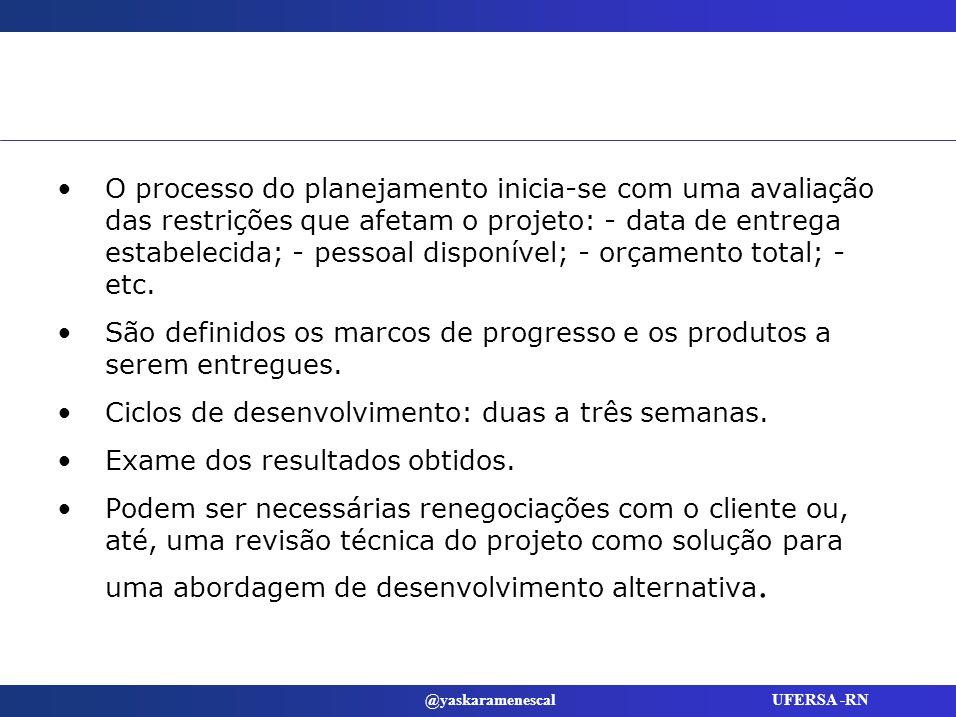 O processo do planejamento inicia-se com uma avaliação das restrições que afetam o projeto: - data de entrega estabelecida; - pessoal disponível; - orçamento total; - etc.