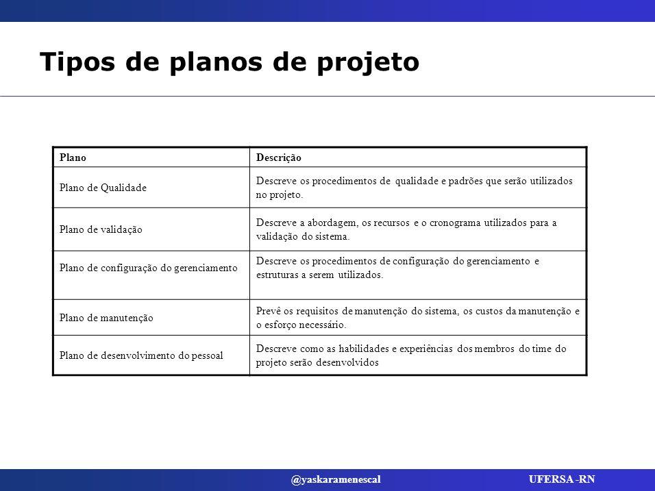 Tipos de planos de projeto