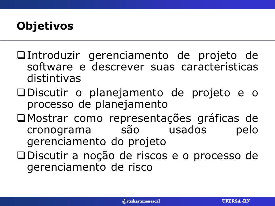ObjetivosIntroduzir gerenciamento de projeto de software e descrever suas características distintivas.