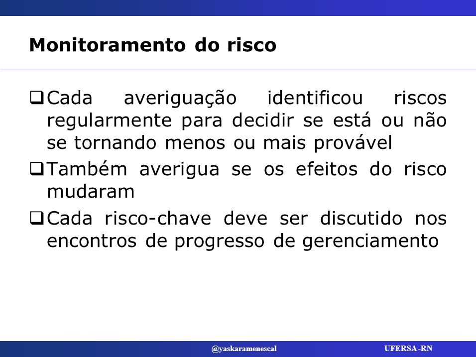 Monitoramento do risco