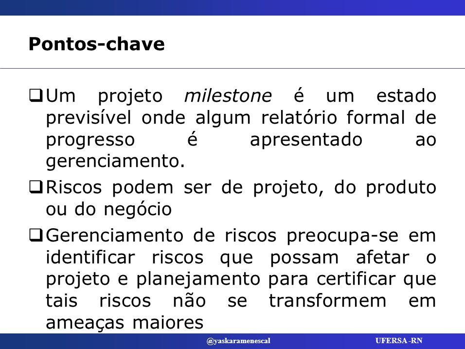 Pontos-chave Um projeto milestone é um estado previsível onde algum relatório formal de progresso é apresentado ao gerenciamento.