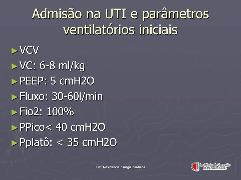 Admisão na UTI e parâmetros ventilatórios iniciais