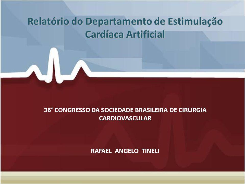 Relatório do Departamento de Estimulação Cardíaca Artificial 36° CONGRESSO DA SOCIEDADE BRASILEIRA DE CIRURGIA CARDIOVASCULAR RAFAEL ANGELO TINELI