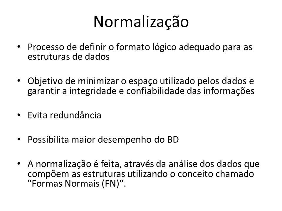 Normalização Processo de definir o formato lógico adequado para as estruturas de dados.