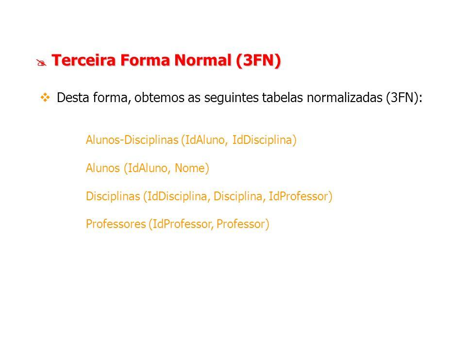 Desta forma, obtemos as seguintes tabelas normalizadas (3FN):