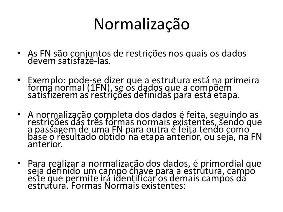 Normalização As FN são conjuntos de restrições nos quais os dados devem satisfazê-las.