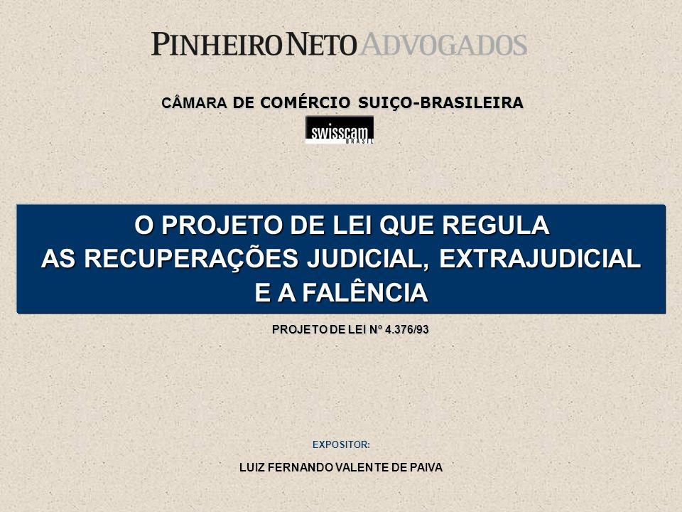 O PROJETO DE LEI QUE REGULA AS RECUPERAÇÕES JUDICIAL, EXTRAJUDICIAL