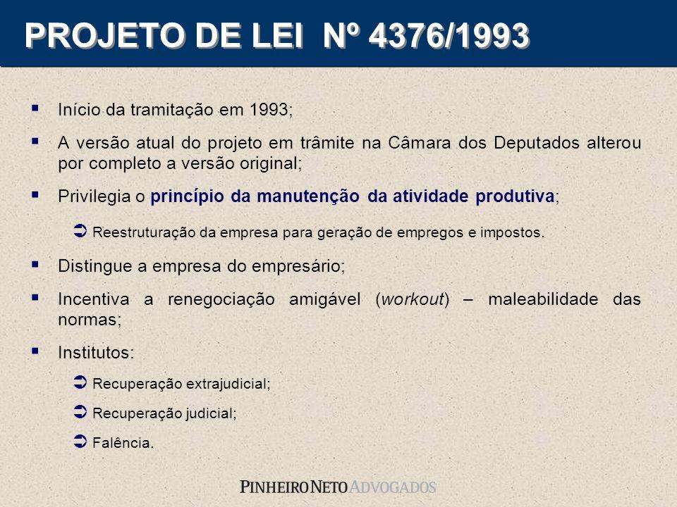 PROJETO DE LEI Nº 4376/1993 Início da tramitação em 1993;