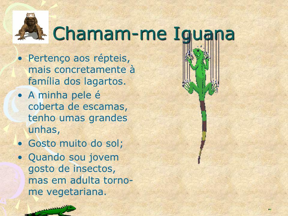 Chamam-me Iguana Pertenço aos répteis, mais concretamente à família dos lagartos. A minha pele é coberta de escamas, tenho umas grandes unhas,