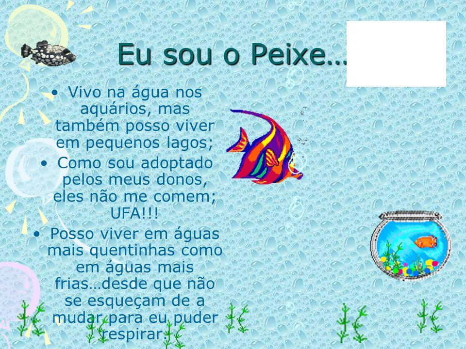 Eu sou o Peixe… Vivo na água nos aquários, mas também posso viver em pequenos lagos; Como sou adoptado pelos meus donos, eles não me comem; UFA!!!