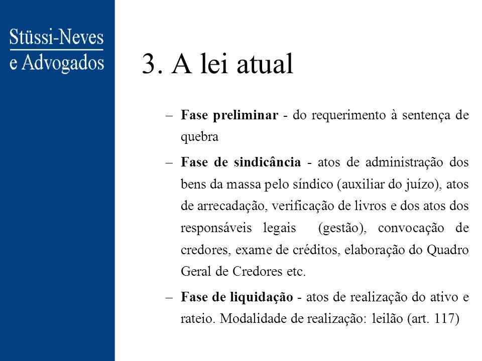 3. A lei atual Fase preliminar - do requerimento à sentença de quebra