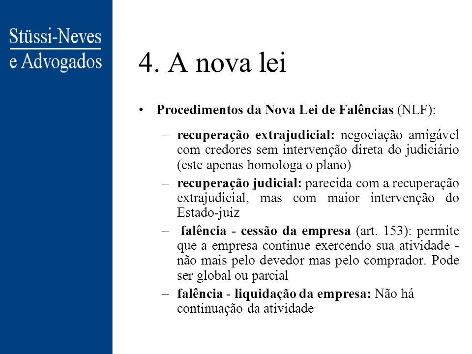 4. A nova lei Procedimentos da Nova Lei de Falências (NLF):