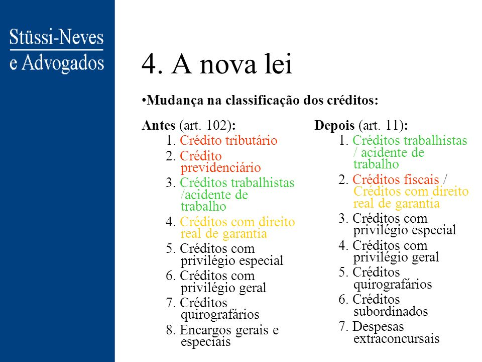 4. A nova lei Mudança na classificação dos créditos: Antes (art. 102):