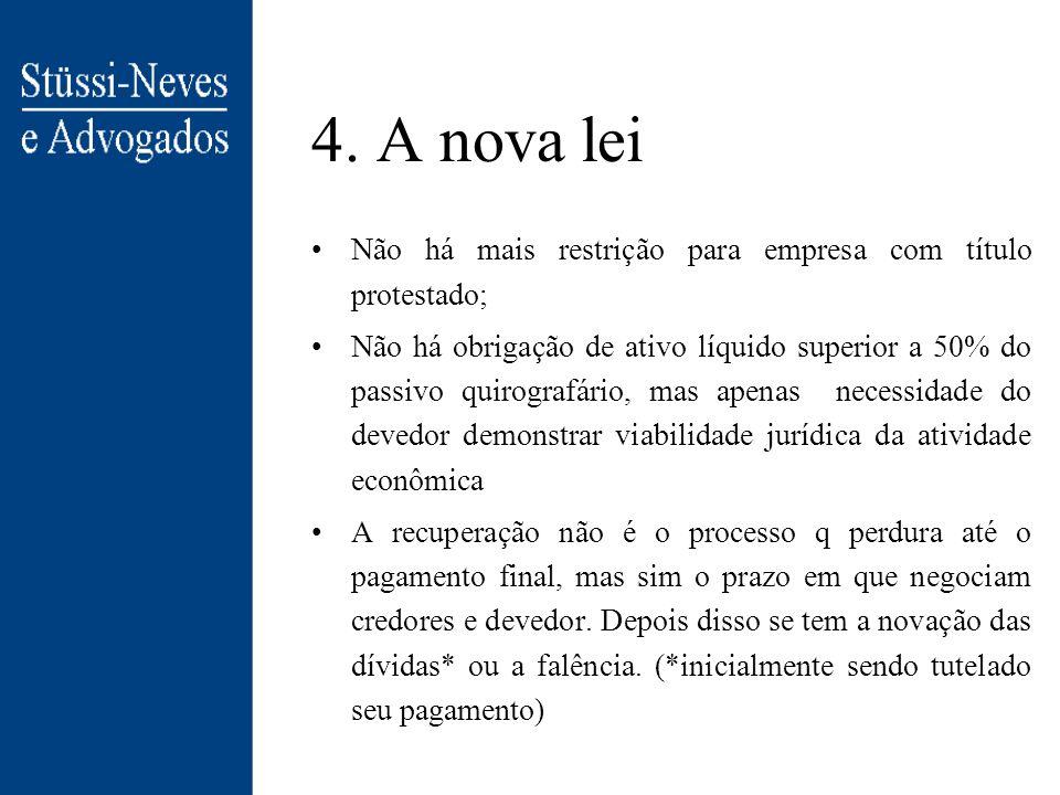 4. A nova lei Não há mais restrição para empresa com título protestado;