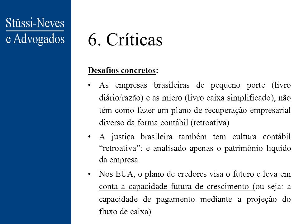 6. Críticas Desafios concretos: