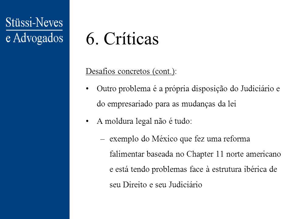 6. Críticas Desafios concretos (cont.):