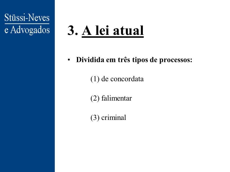 3. A lei atual Dividida em três tipos de processos: (1) de concordata