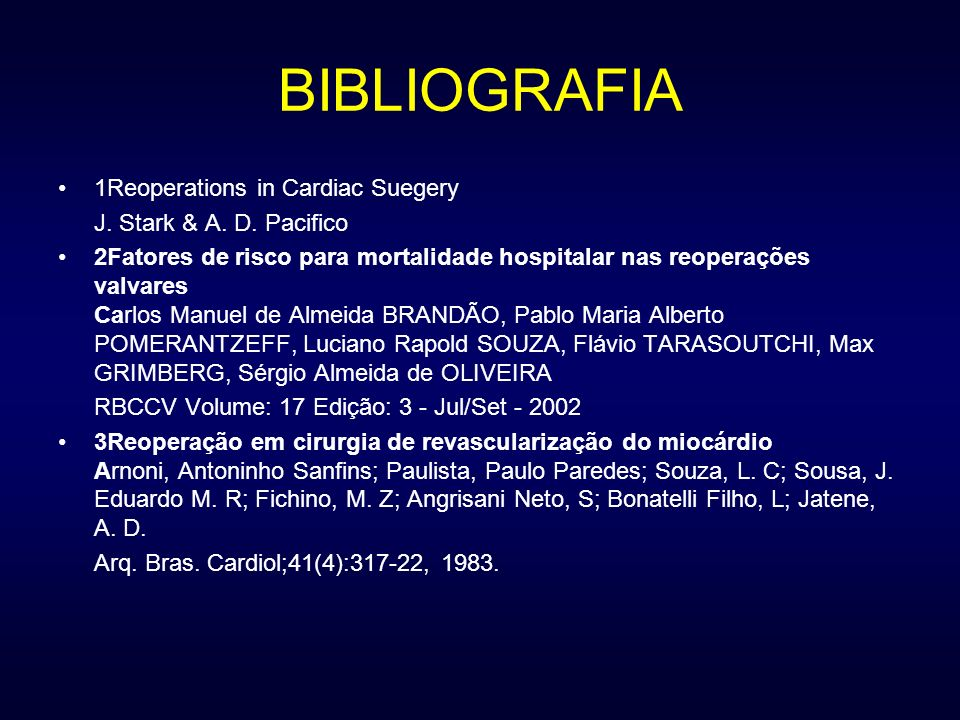 BIBLIOGRAFIA 1Reoperations in Cardiac Suegery
