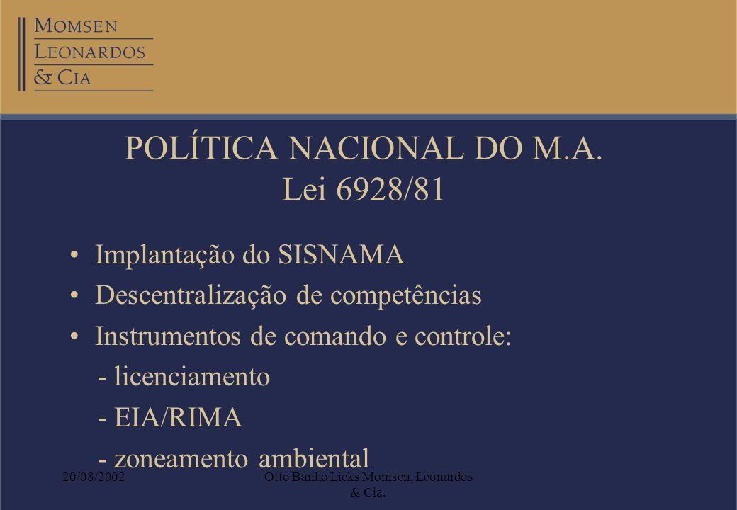 POLÍTICA NACIONAL DO M.A. Lei 6928/81