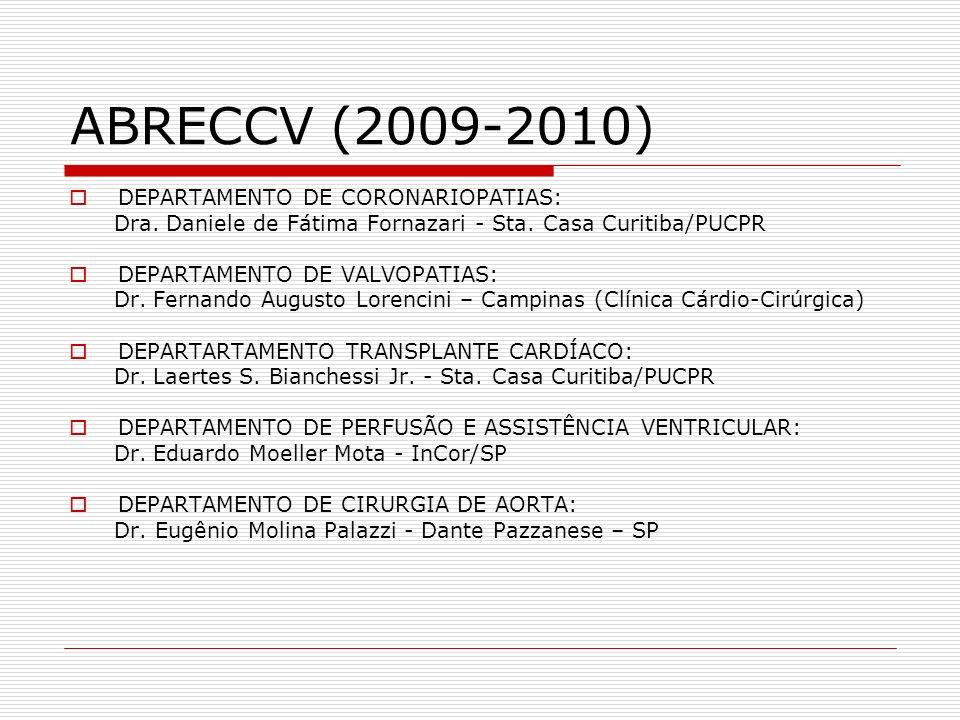 ABRECCV (2009-2010) DEPARTAMENTO DE CORONARIOPATIAS: