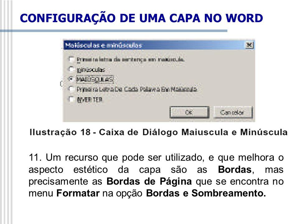 CONFIGURAÇÃO DE UMA CAPA NO WORD
