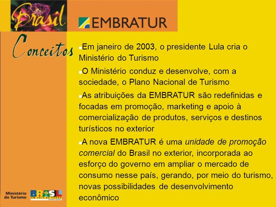 Em janeiro de 2003, o presidente Lula cria o Ministério do Turismo