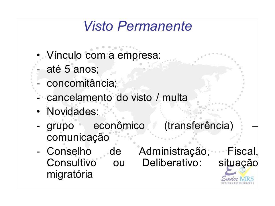 Visto Permanente Vínculo com a empresa: até 5 anos; concomitância;