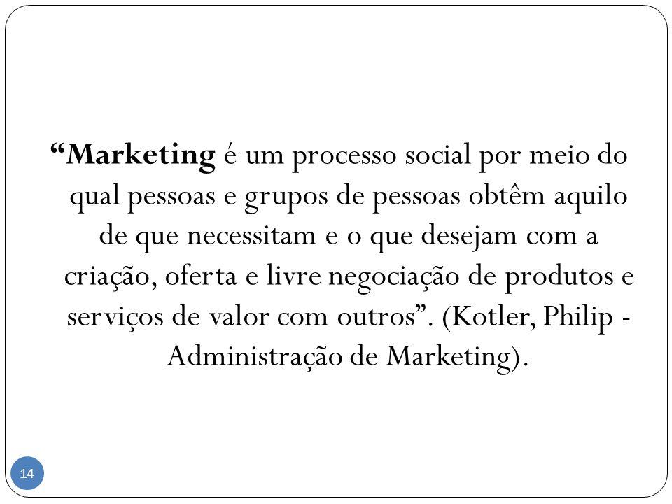 Marketing é um processo social por meio do qual pessoas e grupos de pessoas obtêm aquilo de que necessitam e o que desejam com a criação, oferta e livre negociação de produtos e serviços de valor com outros .