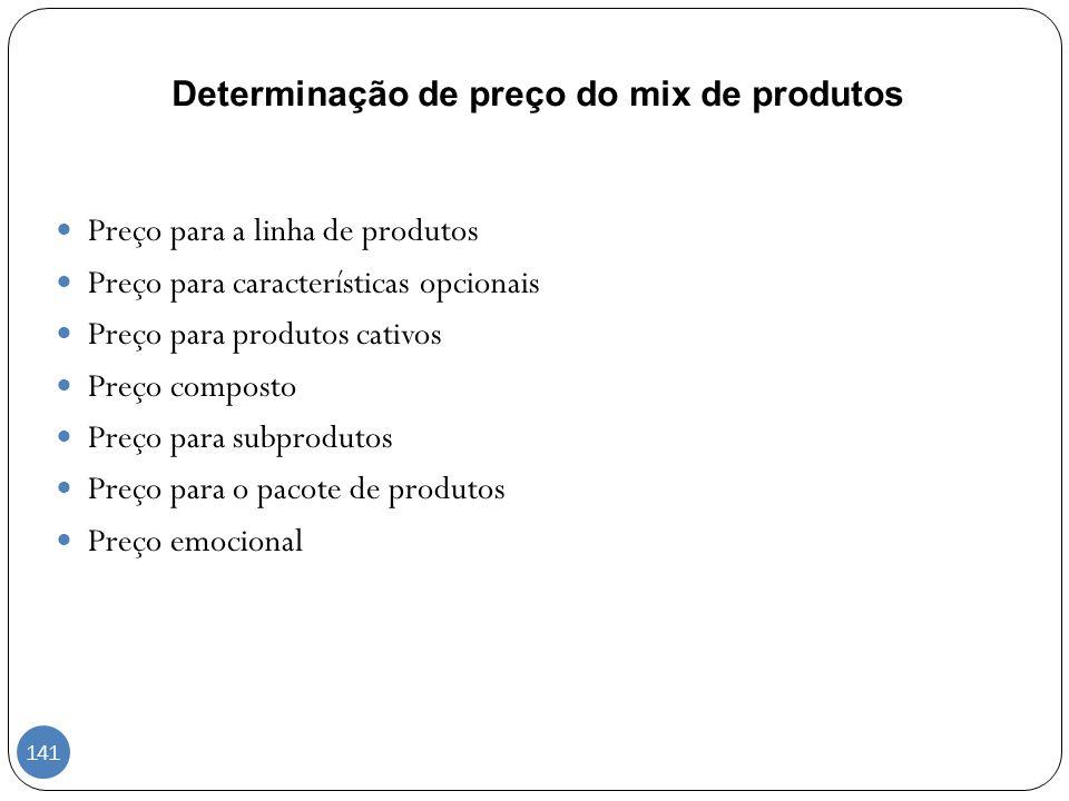 Determinação de preço do mix de produtos