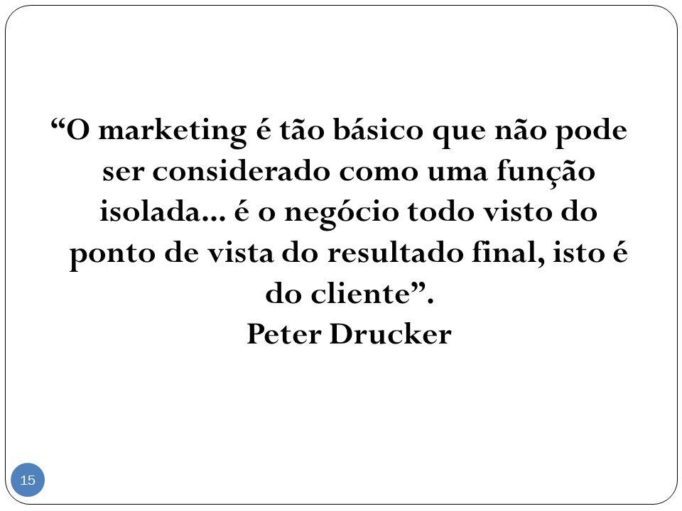O marketing é tão básico que não pode ser considerado como uma função isolada...
