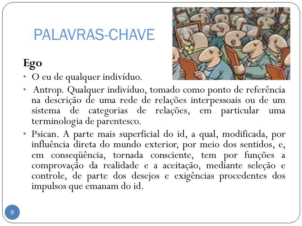 PALAVRAS-CHAVE Ego O eu de qualquer indivíduo.