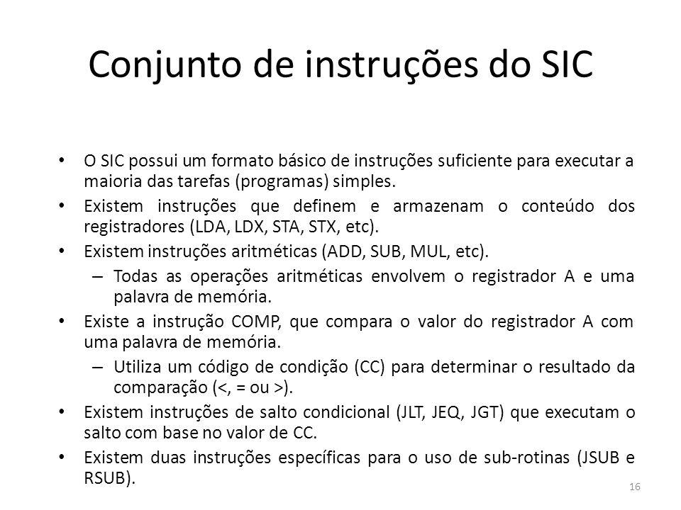 Conjunto de instruções do SIC