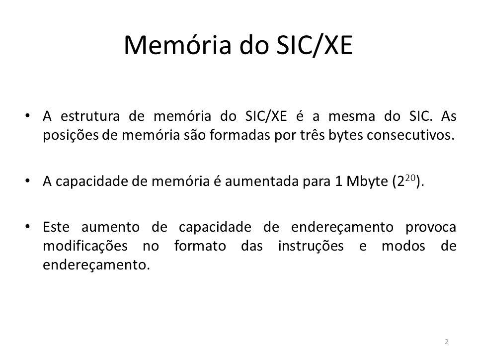 Memória do SIC/XE A estrutura de memória do SIC/XE é a mesma do SIC. As posições de memória são formadas por três bytes consecutivos.