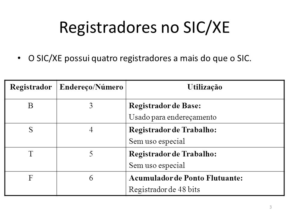 Registradores no SIC/XE
