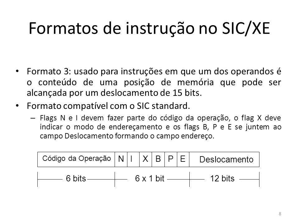 Formatos de instrução no SIC/XE