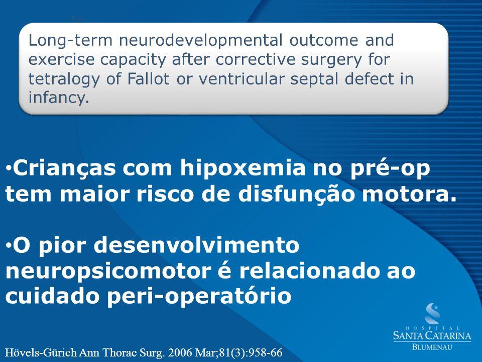 Crianças com hipoxemia no pré-op tem maior risco de disfunção motora.