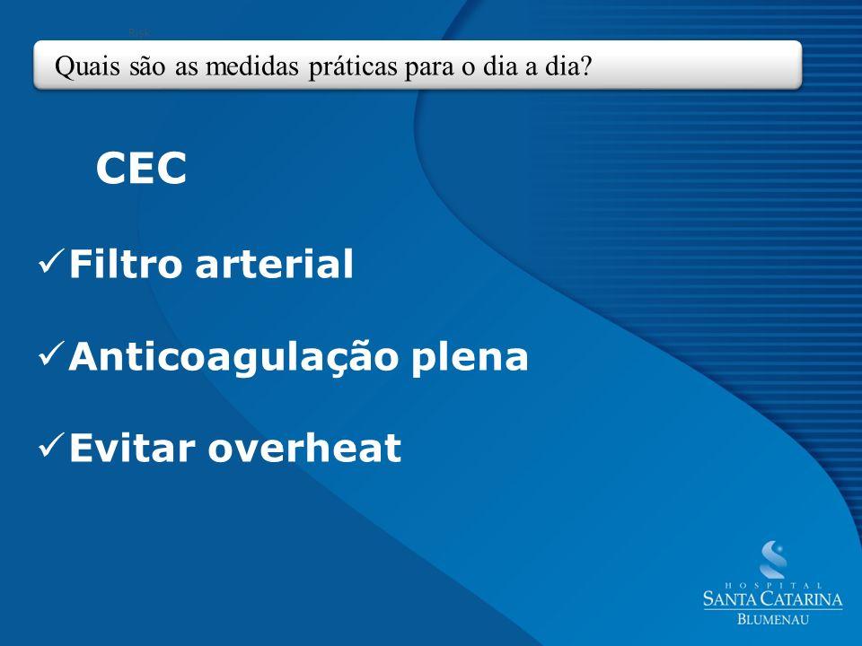 Filtro arterial Anticoagulação plena Evitar overheat
