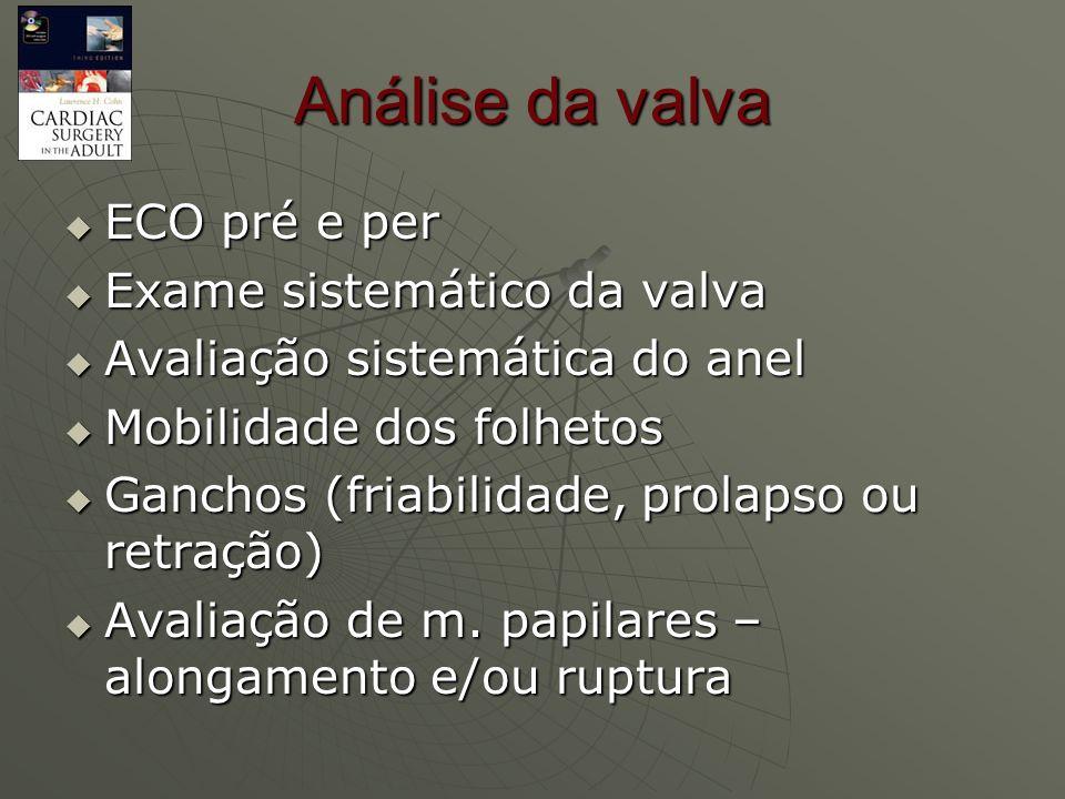 Análise da valva ECO pré e per Exame sistemático da valva