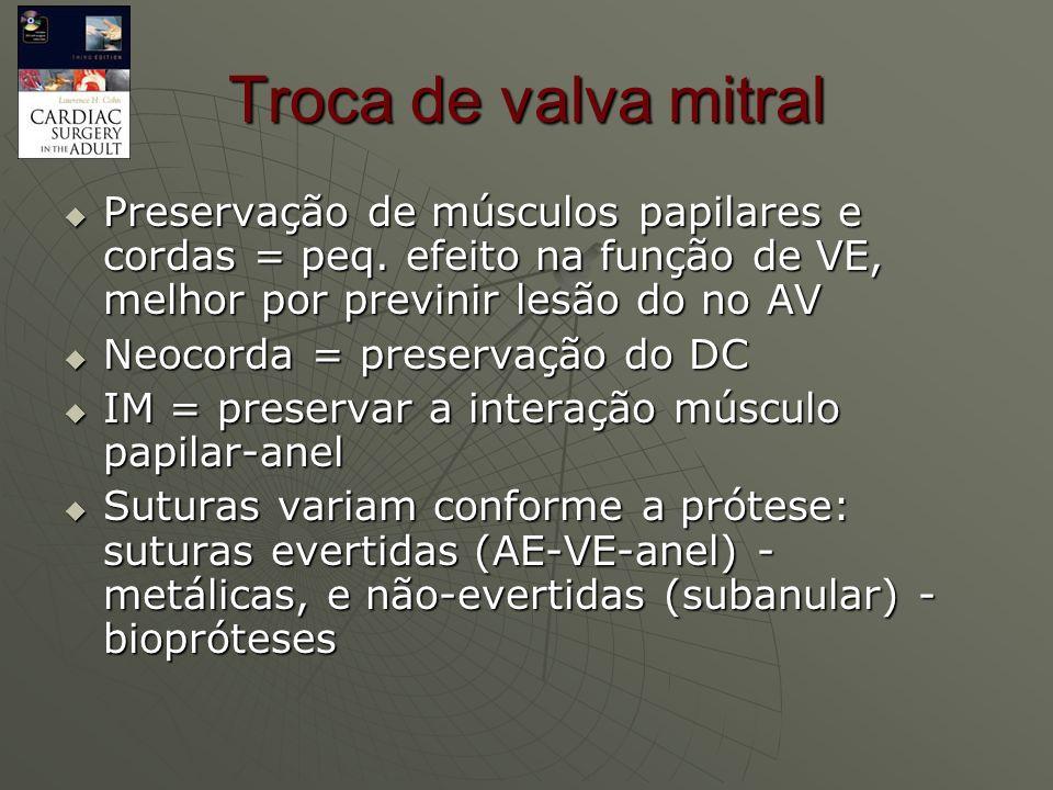 Troca de valva mitral Preservação de músculos papilares e cordas = peq. efeito na função de VE, melhor por previnir lesão do no AV.
