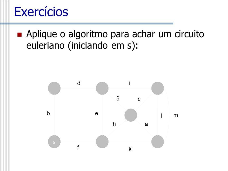 Exercícios Aplique o algoritmo para achar um circuito euleriano (iniciando em s): d. i. g. c. b.