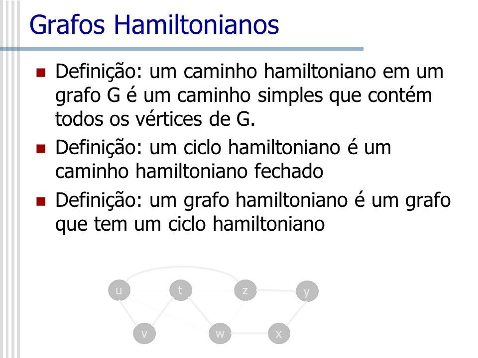 Grafos Hamiltonianos Definição: um caminho hamiltoniano em um grafo G é um caminho simples que contém todos os vértices de G.