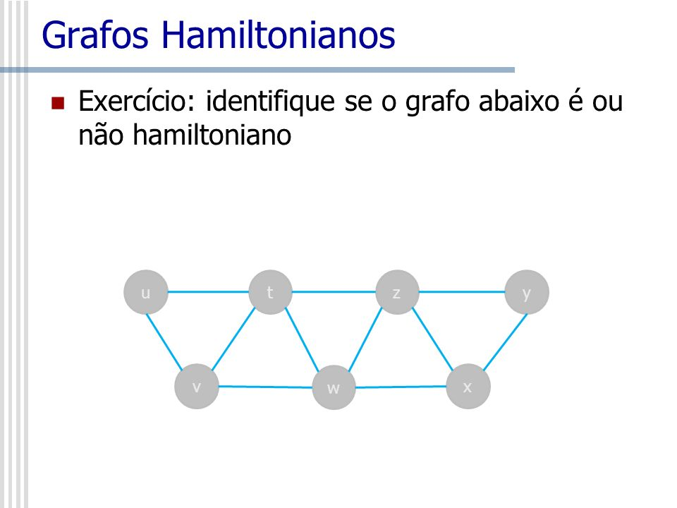 Grafos Hamiltonianos Exercício: identifique se o grafo abaixo é ou não hamiltoniano u t z y v w x