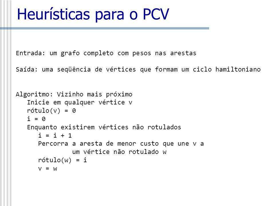 Heurísticas para o PCVEntrada: um grafo completo com pesos nas arestas. Saída: uma seqüência de vértices que formam um ciclo hamiltoniano.