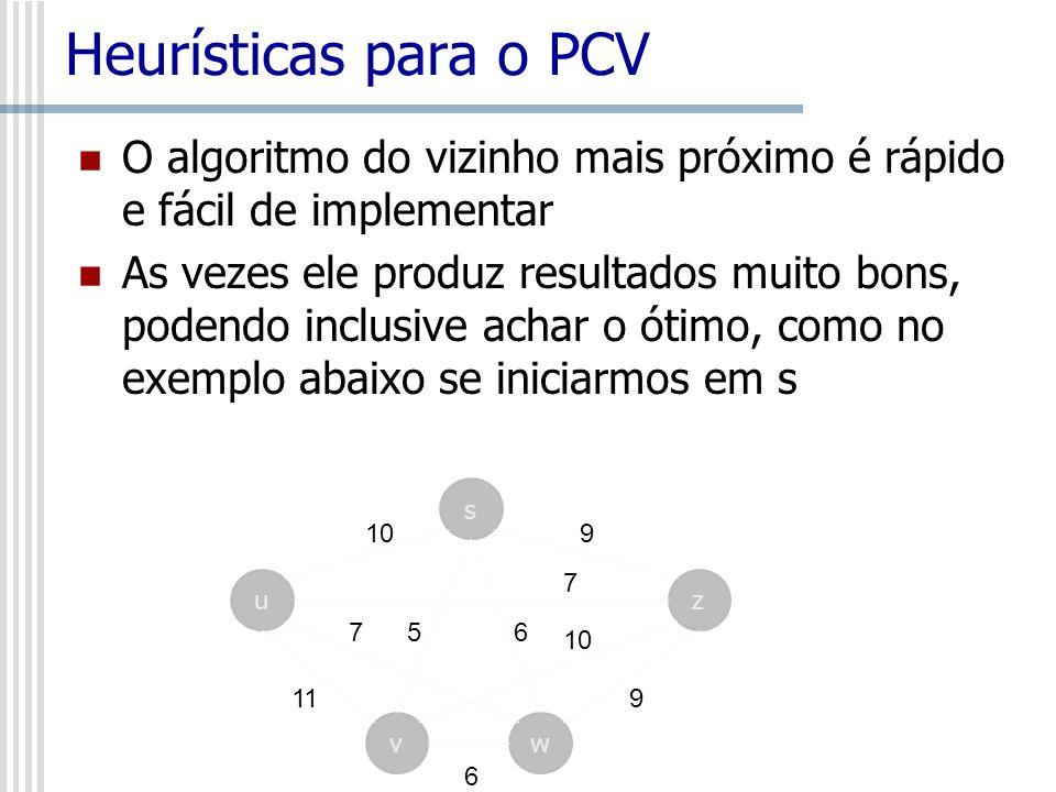 Heurísticas para o PCV O algoritmo do vizinho mais próximo é rápido e fácil de implementar.